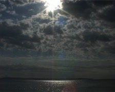 aegean sea and sun with clouds - stock footage