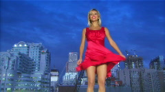 Lady in a red dress Stock Footage