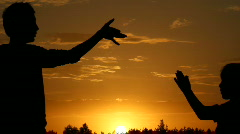 Silhouette, hands, animal Stock Footage