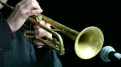 Playing trumpet Stock Footage