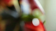 Dew on tulip pistil, macro focus Stock Footage