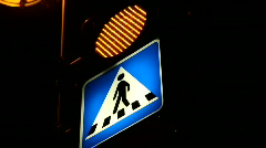 Pedestrian crossing sign with flashing light - right Stock Footage