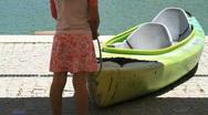 Children & Canoe Stock Footage