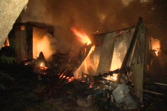 Burning Remains of Mobile Home Stock Footage