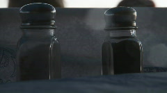 salt and pepper discussing in a tavern - stock footage