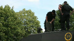 Royal Tank Regiment batten down hatches Stock Footage