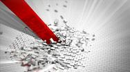 Red arrow destroys a wall. Breaking support concept. Stock Footage