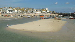 St Ives harbour sandbar timelapse Stock Footage