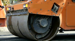 Steamroller with flashing lights Stock Footage