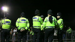 Police stand by event entrance Stock Footage