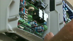 Inverter instalation on solar power station Stock Footage