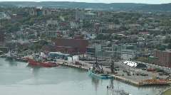 Aerial View Of St Johns Newfoundland Port And City Canada - stock footage