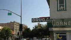 Drug store ,main steet Stock Footage