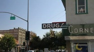 Stock Video Footage of drug store ,main steet
