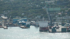 Oil Rig Supply Vessels In Port St Johns Newfoundland Canada Stock Footage