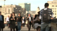 London commuters- defocussed slow motion Stock Footage