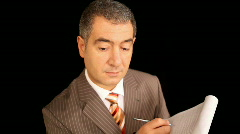 Businessman-writing-notebook-take-note-control-high-angle Stock Footage