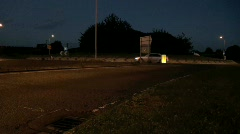 Night Traffic on Roundabout Stock Footage