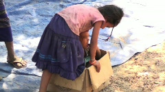 Cambodian kids in box Stock Footage