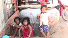 Three Cambodian kids - stock footage