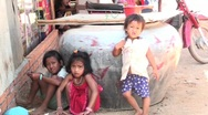 Stock Video Footage of Three Cambodian kids