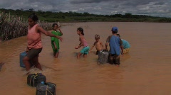 Brazil: Children Collect Water for Domestic Use Stock Footage