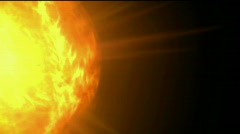 Burn sun and fire at space,golden nebula and whirl laser,energy tech background Stock Footage