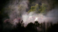 Fire-smoke and firemen - stock footage