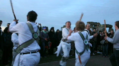 Morris dancing stonehenge sticks 2 Stock Footage