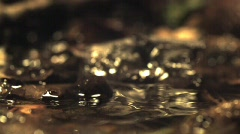Water drop on puddle slow motion - stock footage