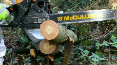 Chopping wood with chainsaw Stock Footage