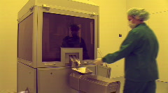 Women work in the pharmaceutical factory Stock Footage
