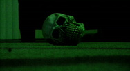 Stock Video Footage of Skeleton Head In The Lightning Storm Skull 6