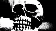 Stock Video Footage of Black and White Scary Skeleton Skull 1