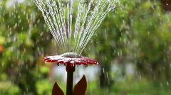 garden fountain closeup three clips - stock footage