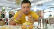 The man has breakfast at the Italian restaurant in Rome, Italy. Stock Footage