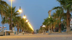 Via Venezia with palms on beach in Mandatoriccio, Italy. Stock Footage
