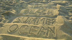 Words: travel, beach, summer, ocean on sand. Stock Footage