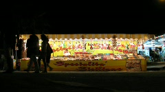 Stall with sweets in night street in Rome, Italy. Stock Footage
