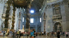 People are in basilica di San Pietro (San Pietro church) in Vatican City, Rome. Stock Footage