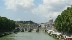 River Tiber with bridge in Vatican, Rome, Italy. Stock Footage