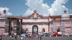 Tourists nearby Piazza del Popolo arch in Rome, Italy. Stock Footage