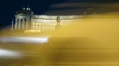 The Monumento Nazionale a Vittorio Emanuele II or Altare della Patria at night Stock Footage