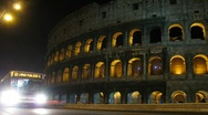 Stock Video Footage of Highway, Coliseum at night. Rome, Italy.