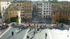 Tourists are on Spanish Steps (Scalinata) in Rome, Italy. Stock Footage