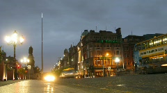 Brisk movement in Connell street at night in Dublin, Ireland. Stock Footage
