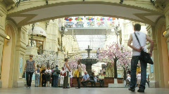 Fountain and trees round it in GUM center in Moscow, Russia Stock Footage