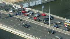 Cars moves on the bridge in sunny day in Moscow, Russia. Stock Footage