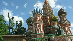 St. Basil's Cathedral and monument to Minin and Pozharsky on Red square Stock Footage
