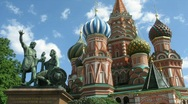 Stock Video Footage of St. Basil's Cathedral and monument to Minin and Pozharsky on Red square
